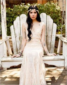 This bride wasn't afraid to go with a sleeveless gown and it made for an amazing bridal look. See more of this Big Sur wedding here captured by Ever Whim Photographs. Wedding Attire, Chic Wedding, Dream Wedding, Wedding Day, Wedding Story, Wedding Bride, Lace Wedding, Brides With Tattoos, Tattooed Brides