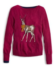 Joules Womens Character Knit Sweater, Dark Ruby Pink.                     Crafted for a super-soft feel and adorned with a new design animal intarsia that is guaranteed to raise a smile whenever it makes an appearance, this sweater is great to add a bit of character to your wardrobe.