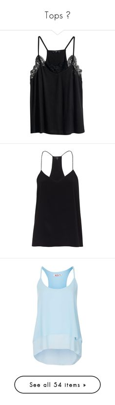"""""""Tops ♥"""" by momochen95 ❤ liked on Polyvore featuring tops, shirts, tank tops, tanks, black, lace trim shirt, racer back tank tops, jersey shirt, lace tank tops and h&m shirts"""