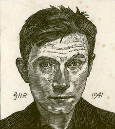 "Twentieth Century British Art by Geoffrey Hamilton Rhoades: ""Self portrait, Selfies, Hamilton, Best Portraits, Drawing Portraits, Wood Engraving, Art Club, Art Images, Painting & Drawing, Printmaking"