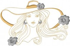 Free Woman in Hat Embroidery Design - Floral Embroidery Designs - AnnTheGran.com