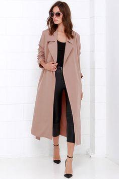 Chic Blush Coat - Trench Coat - Belted Coat - $68.00