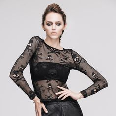 Steampunk Women's Cotton Skull Printed Long Sleeve Hollow Out Black T-Shirt