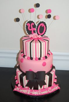 40th Birthday cake pink and black - 40th Birthday cake in pink and black.