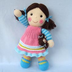 Maisie and her little doll toy doll knitting pattern by toyshelf