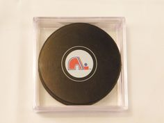 Quebec Nordiques Hockey Puck In Square Display