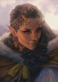 f Wood Elf Druid Light Armor Cloak Circlet portrait female Forest Community lg (saved) Elf Characters, Dungeons And Dragons Characters, Fantasy Characters, Elfen Fantasy, Fantasy Rpg, Fantasy Races, Character Creation, Character Art, Character Design