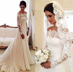 Lace Mermaid Wedding Dresses Long Sleeves Off Shoulder Bridal Gowns Custom Made