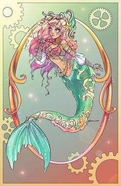 """Little Mermaid by NoFlutter on DeviantArt. My version of Hans Christian Anderson's The Little Mermaid My sister named her Nerissah which is Greek """"From the Sea"""" Disney Art, Ariel Disney, Punk Disney, Fantasy Mermaids, Mermaids And Mermen, Disney Tattoos, Disney Little Mermaids, The Little Mermaid, Fantasy Creatures"""