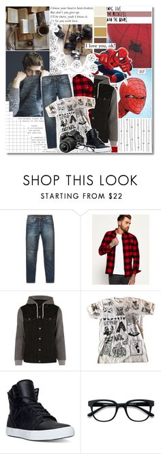 """your friendly neighborhood spider-man!✮"" by sodapoppy ❤ liked on Polyvore featuring Brownstone, Ultimate, Nudie Jeans Co., Superdry, River Island, Supreme, Supra, Nikon, men's fashion and menswear"