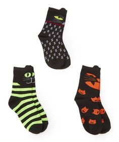 e15e218f6b5 TeeHee Kids Halloween Cat Pop Out Three-Pair Crew Socks Set - Infant
