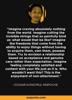 Imagine craving absolutely nothing from the world. Imagine cutting the invisible strings that so painfully bind us: what would that be like? Imagine the freedoms that come from the ability to enjoy things without having to acquire them, own them, possess them. Try to envision a relationship based on acceptance and genuine care rather than expectation. Imagine feeling completely satisfied and content with your life just as it is. Who wouldn't want this? This is the enjoyment of…