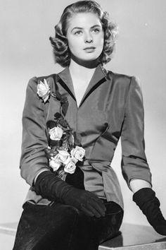 ~ Ingrid Bergman ~ lovely in her silk suit with silk roses