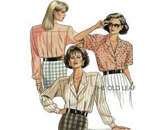 Sewing Pattern for 1980s Tuck-In Blouse, New Look 6316 #NewLookPatterns #1980sShirtPattern #80sBlousePattern #TuckInBlouse #TheOldLeaf