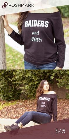 Off the shoulder sweater Raiders and Chill? The perfect sweatshirt for all you Oakland Raider fans. Look sexy on the sidelines with this adorable off the shoulder. Comfortable stretchy fit. Tops Sweatshirts & Hoodies