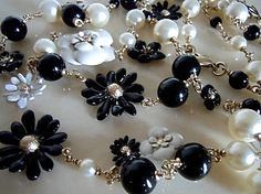 Chanel full handmade black & white daisy glass bead pearl necklace From Ebay store sincere_international  SOLD