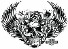 Skull & Pistons - Harley Davidson - US by DAVID VICENTE, via Behance