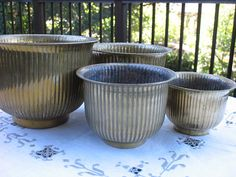 A Set of Four Stacking Vintage Brass Planters Pots by AnnasDream, $55.00