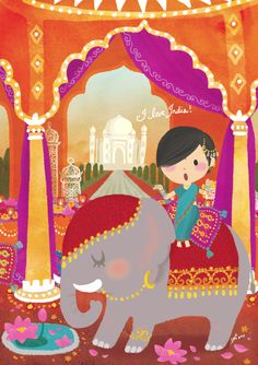 Taj Mahal & Elephant! I love India! travel Illustration by Lon Lee
