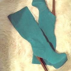 Teal Boots GORGEOUS, NEVER WORN. Five inch, wooden, striped heels with a one inch platform. Fits very true to size (8). Great color teal, suede feeling, genuine leather mix. Pull on (no zipper!). Sexy and stylish. Colin Stuart Shoes Heeled Boots