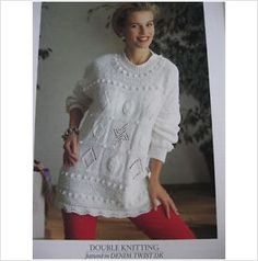 patons knitting pattern 4958 ladies leaf and patterned tunic Bust 30 - 40""