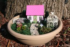 Fairy House and Succulent Garden Kit by GardenArtandMoore on Etsy, $100.00