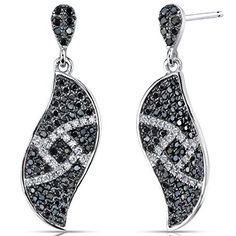 Elegant Wave Black and White CZ Sterling Silver Rhodium Nickel Finish Dangle Earrings available at joyfulcrown.com