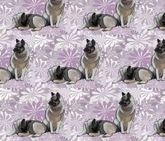 norwegian_elkhounds_on_lavender fabric by dogdaze_ on Spoonflower - custom fabric