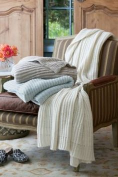Cuddle Knit Throw from Soft Surroundings.....they look beautiful and warm.