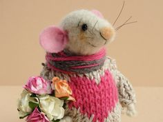 Needle felted Mouse with roses. Sweater with heart. Winter Mouse. Dollhouse Mouse. Cake topper. Gift. St Valentines mouse. paper flowers. by OlgaHappyHandmades on Etsy