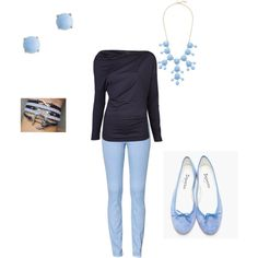 A  cute outfit collage from Polyvore. powder-blue, light baby blue, sky, sea, Navy, ultramarine. cute University game day outfit for UNC, UMaine, or Columbia. skinny jeans, flats powder blue shoes, bobble necklace, J.Crew, simple earings