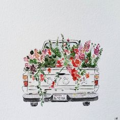 Drawing Flowers I just have to share this adorable watercolor, by artist of our sweet old farm truck filled with flowers. Hope it brightens your day as much as it did mine! Art Watercolor, Watercolor Flowers, Drawing Flowers, Watercolor Stickers, Painting Flowers, Art Flowers, Flower Art, Painting Inspiration, Art Inspo