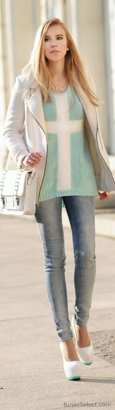 Mint Cross Top & Skinnies paired with white.