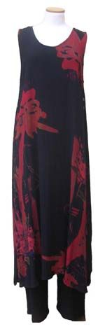 Inspired by Morocco this dress/tunic can be worn loose and flowing or the side hem can be buttoned above the hip or at the shoulder.     Deep armholes and open sides below the waist make this a favorite over the black crinkle palazzo pants for a dressy evening or over leggings for a more casual look.