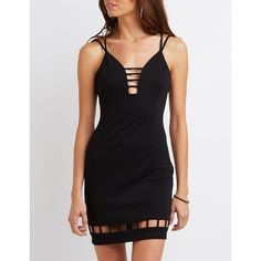 Charlotte Russe Strappy Lattice-Inset Bodycon Dress ($33) ❤ liked on Polyvore featuring dresses, black, body con dress, strappy dress, cutout bodycon dresses, cage dresses and charlotte russe dresses