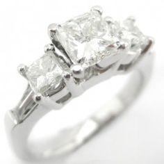 1.30ctw Princess Cut Three Stone Diamond Engagement Ring P62