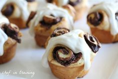 Nutella Rolls with Cream Cheese Icing |   This recipe is so stinkin' easy.  One of my favorite blogs, Inspired by Charm created this yummy and simple recipe and I have fallen in LOVE with it!  Seriously… the Nutella Rolls themselves are 2 ingredients… 3 if you add a little sugar.  The cream cheese icing sets it over the top into easy and blissful heaven :)    From: chef-in-training.com