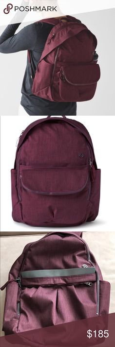 Lululemon All Day Bordeaux Back Pack & crossbody Gorgeous deep Bordeaux color. HSA and hard to find. Has removable cross body bag. Small bag used once. Reposh but I'll probably regret it 😂. Includes shoe/dirty bag and tags. In euc. No stains or signs of use really. lululemon athletica Bags Backpacks