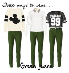 """Three ways to wear: Green jeans"" by fashionloveronlee on Polyvore featuring Kenzo, Uniqlo and Alice + Olivia"