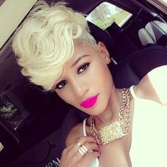 50 Short Hairstyles for Black Women. Platinum Blonde Layered Mohawk for Black Women ; i have realized i have alot of long and weaved out styles on my hair board Love Hair, Gorgeous Hair, Pretty Hair, Short Hair Cuts, Short Hair Styles, Curly Short, Blonde Layers, Sassy Hair, My Hairstyle