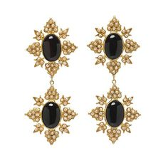 Cleon Earrings Gold & Black - Christie Nicolaides