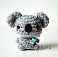Baby Gray Koala  Kawaii Mini Amigurumi Plush от twistyfishies