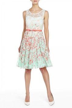 Chetta B Floral Print Lace Dress
