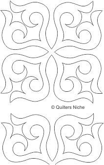 Crimson Rose Block 4 - Digital - Quilts Complete - Continuous Line ... : stencils for quilting free pattern - Adamdwight.com