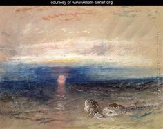 William Turner, Sunset at sea with gurnards Landscape Art, Landscape Paintings, Oil Paintings, Landscapes, Turner Watercolors, English Romantic, Joseph Mallord William Turner, English Artists, Old Master