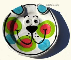 turquoise pink and green one of a kind funky puppy dog by artzfolk, $28.00