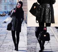 JACQUARD SKIRT & BLACK COAT (by A piece of Anna .) http://lookbook.nu/look/4631773-JACQUARD-SKIRT-BLACK-COAT