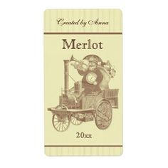 Steampunk Santa on steam engine Label - click/tap to personalize and buy