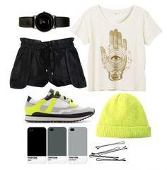 Streetstyle  Monki T-shirt, Rebecca Minkoff shorts, Zara sneakers, Acne hat, American Apparel watch