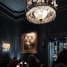 Having a blue hour Blaue Bar, Hotel Sacher. Dining Room Blue, Blue Hour, Austria, Chandelier, Ceiling Lights, Photo And Video, Bar, Instagram